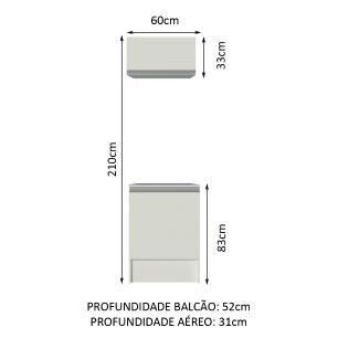 Kit Madesa Topazio 60 cm 2 Portas com Armário Aéreo e Balcão - Branco