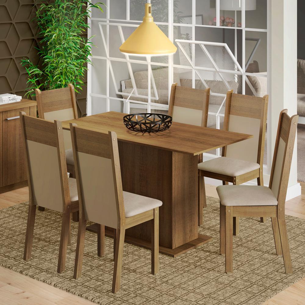 Conjunto Sala de Jantar Madesa Catarina Mesa Tampo de Madeira com 6 Cadeiras