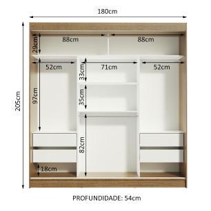 Guarda-Roupa Casal Madesa Reno 3 Portas de Correr com Espelhos - Rustic/Branco
