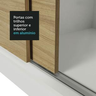 Guarda-Roupa Casal Madesa Lyon Plus 3 Portas de Correr 4 Gavetas - Branco/Carvalho