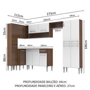 Cozinha Completa de Canto Reto Madesa EmillyLovecom Armário e Balcão 13 Portas 1 Gaveta - Rustic/Branco