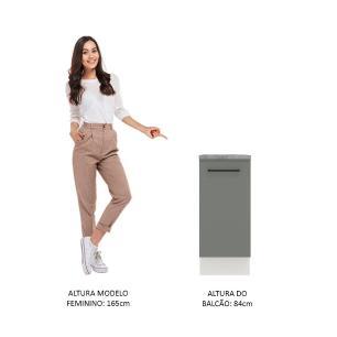 Balcão Madesa Agata 35 cm 1 Porta - Branco/Cinza