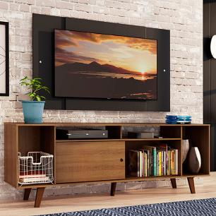 Rack Madesa Cancun e Painel para TV até 58 Polegadas com Pés - Rustic/Preto 5ZD8