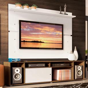 Rack Madesa Cancun e Painel para TV até 65 Polegadas - Rustic/Branco/Branco