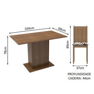 Conjunto Sala de Jantar Lexy Madesa Mesa Tampo de Madeira com 4 Cadeiras - Rustic/Hibiscos