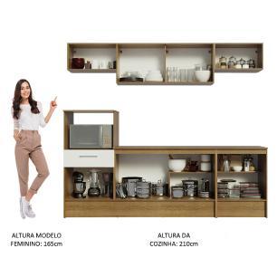 Cozinha Completa Madesa Onix 240003 com Armário e Balcão - Rustic/Branco 5Z6E