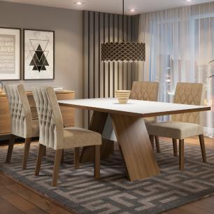 Conjunto Sala de Jantar Madesa Diana Mesa Tampo de Madeira com 4 Cadeiras