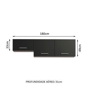 Armário Aéreo Madesa Onix 180 cm 3 Portas - Rustic/Preto