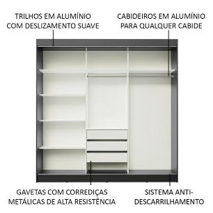 Guarda-Roupa Casal Madesa Istambul 3 Portas de Correr com Espelhos 3 Gavetas - Preto/Branco