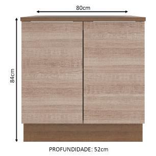 Balcão Madesa Stella 80 cm 2 Portas - Rustic/Saara
