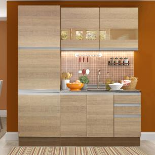 Cozinha Compacta Madesa Ester 7 Portas 3 Gavetas (Sem Tampo e Pia)
