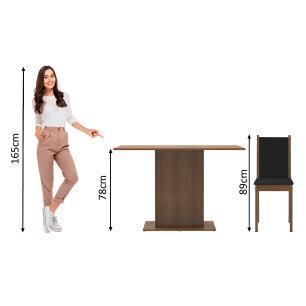 Conjunto Sala de Jantar Madesa Talita Mesa Tampo de Madeira com 4 Cadeiras - Rustic/Preto/Sintético Preto