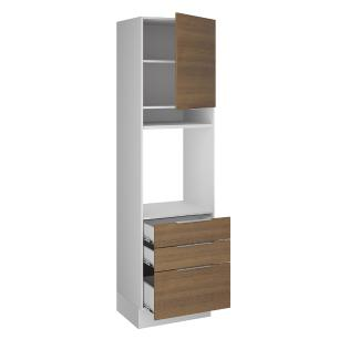 Torre Quente Madesa Stella 60 cm 1 Porta 3 Gavetas - Branco/Rustic