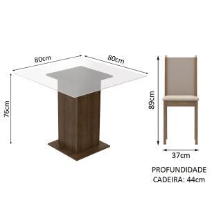 Conjunto Sala de Jantar Madesa Aline Mesa Tampo de Vidro com 4 Cadeiras - Rustic/Crema/Pérola