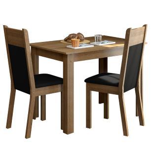 Conjunto Sala de Jantar Madesa Lola Mesa Tampo de Madeira com 2 Cadeiras