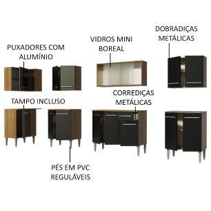 Cozinha Completa de Canto Madesa Emilly Jazz com Armário Vidro Miniboreal e Balcão
