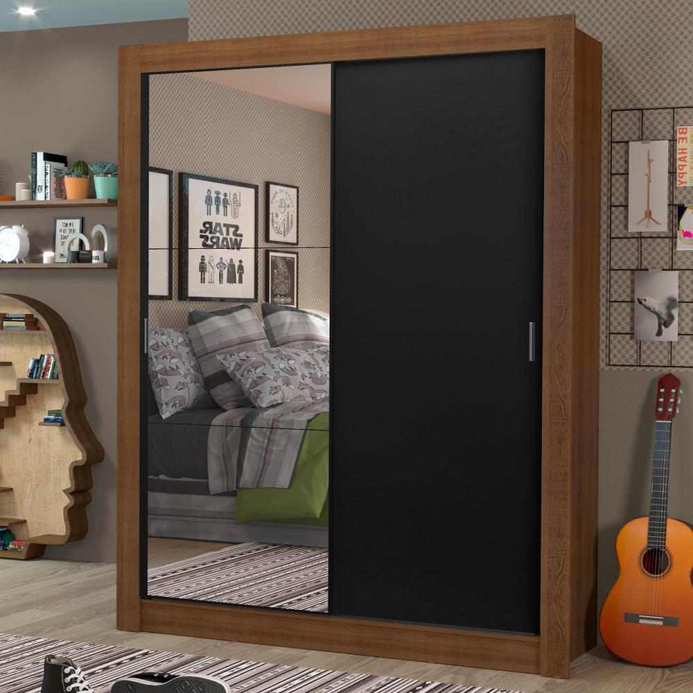 Guarda-Roupa Solteiro Madesa Dallas Plus 2 Portas de Correr com Espelho 4 Gavetas