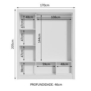 Guarda Roupa Casal Madesa Mônaco 3 Portas de Correr com Espelho - Branco/Preto