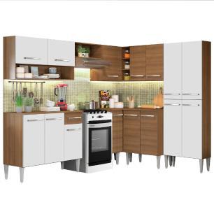 Cozinha Completa de Canto Madesa EmillyIcecom Armário e Balcão 15 Portas 1 Gaveta - Rustic/Branco