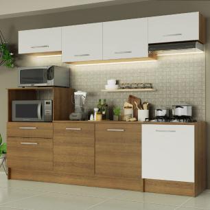 Cozinha Completa Madesa Onix 240003 com Armário e Balcão - Rustic/Branco 5Z9B