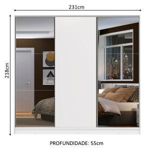 Guarda Roupa Casal 100% MDF Madesa Zurique 3 Portas de Correr com Espelhos - Branco