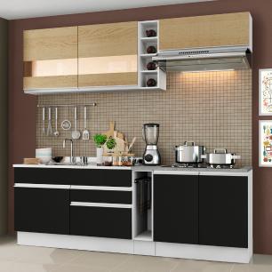 Cozinha Completa Madesa Parma com Armário e Balcão (Sem tampo e Pia) - Branco/Saara/Preto