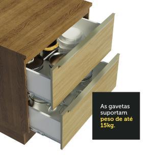 Balcão Madesa Lux 80 cm 2 Gavetas - Rustic/Carvalho