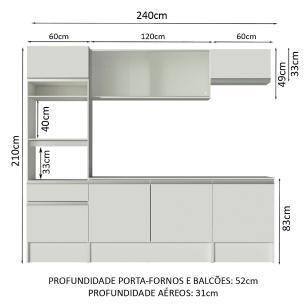 Cozinha Completa Madesa Topazio com Armário, Balcão e Tampo - Branco