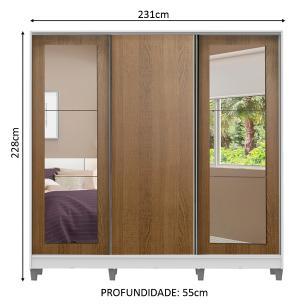 Guarda-Roupa Casal Madesa Eros 3 Portas de Correr com Espelhos com Pés - Branco/Rustic