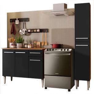 Cozinha Compacta Madesa Emilly Silver com Balcão e Paneleiro - Rustic/Preto