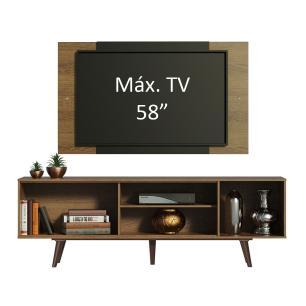 Rack Madesa Dubai com Pés e Painel para TV até 58 Polegadas - Rustic/Preto 7KC1