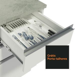 Balcão de Pia Madesa Glamy 120 cm 2 Portas e 3 Gavetas (Com Tampo) - Branco