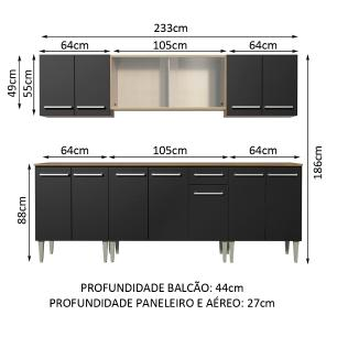 Cozinha Completa Madesa Emilly Wind com Balcão e Armário Aéreo - Rustic/Preto