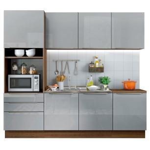 Cozinha Completa Madesa Lux com Armário e Balcão 7 Portas 3 Gavetas - Rustic/Cinza