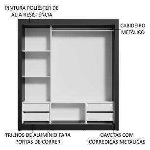 Guarda-Roupa Casal Madesa Lyon Plus 3 Portas de Correr com Espelho 4 Gavetas - Preto/Carvalho
