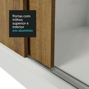 Guarda Roupa Casal Madesa Mônaco 3 Portas de Correr - Branco/Rustic