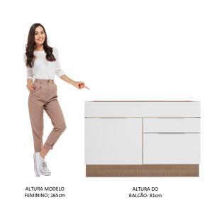Balcão de Pia Madesa Stella 1 Porta e 2 Gavetas - Rustic/Branco