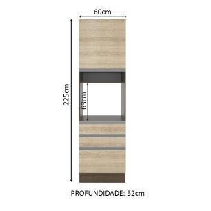 Torre Quente Madesa Glamy 60 cm 1 Porta 3 Gavetas - Rustic/Saara