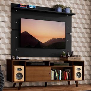 Rack Madesa Cancun com Pés e Painel para TV até 65 Polegadas - Rustic/Preto 5ZD8