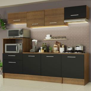 Cozinha Completa Madesa Onix 240002 com Armário e Balcão - Rustic/Preto 5ZD8