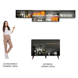 Cozinha Compacta Madesa Reims 260003 com Armário e Balcão - Preto