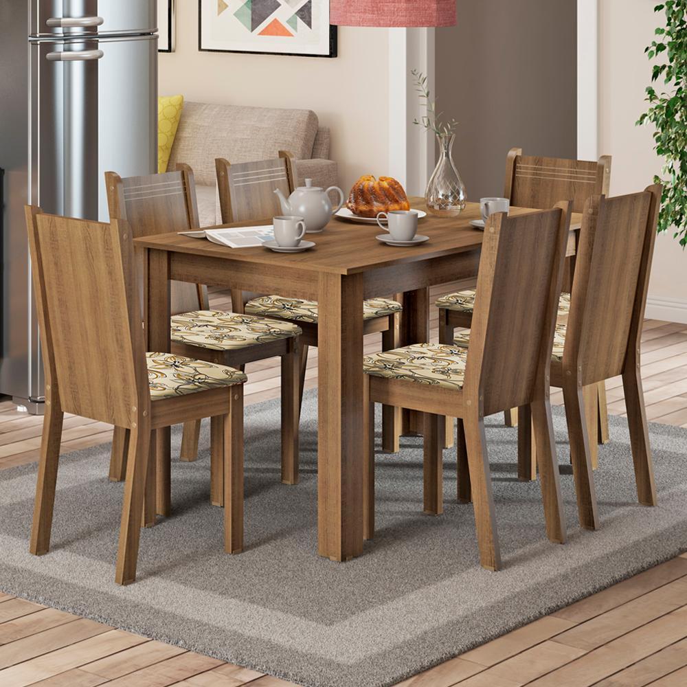 Conjunto Sala de Jantar Madesa Maris Mesa Tampo de Madeira com 6 Cadeiras - Rustic/Lírio Bege
