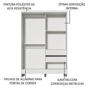 Kit Madesa Guarda-Roupa Infantil Nick com 2 Portas de Correr com Espelho com Pés + Beliche Larissa