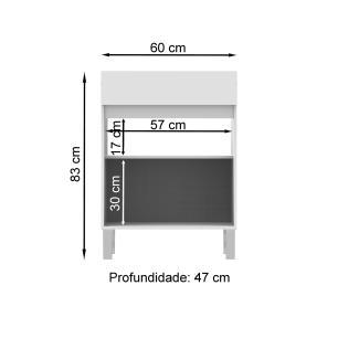 Balcão Madesa 60 cm para Área de Serviço