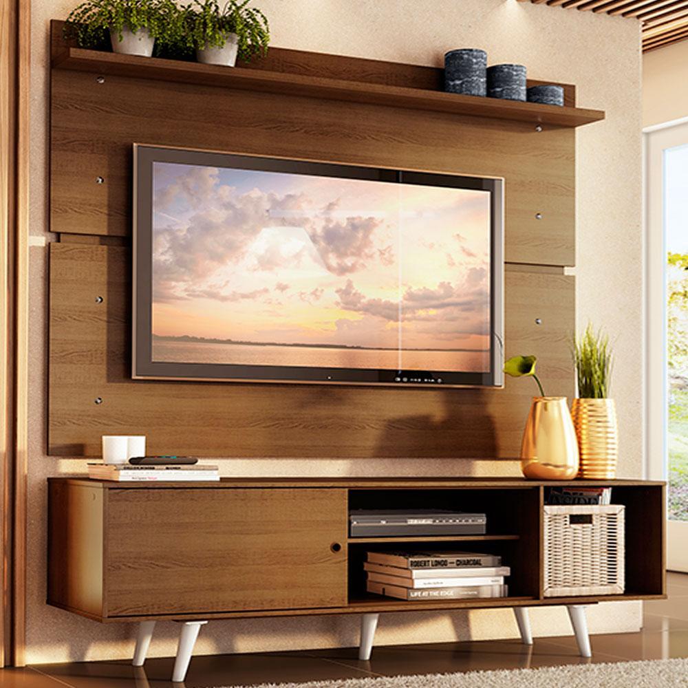 Rack Madesa Dubai e Painel para TV até 65 Polegadas com Pés - Rustic/Branco