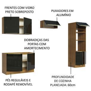 Cozinha Completa Madesa Lux 270001 com Armário e Balcão - Rustic/Preto