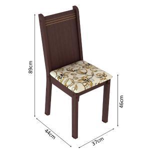 Kit 6 Cadeiras 4290 Madesa - Tabaco/Lírio Bege