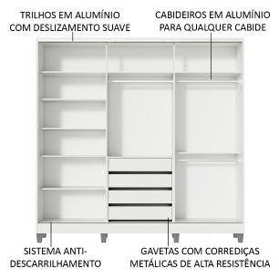 Guarda Roupa Casal 100% MDF Madesa Royale 3 Portas de Correr com Espelho com Pés - Branco