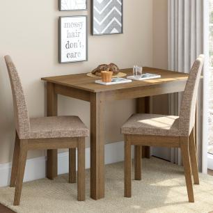 Conjunto Sala de Jantar Madesa Titi Mesa Tampo de Madeira com 2 Cadeiras