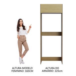 Porta Geladeira Madesa Lux 1 Porta Basculante - Rustic/Carvalho